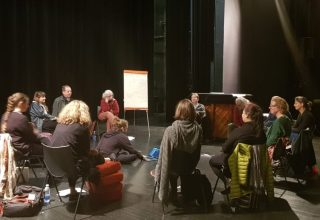 Mapping project Sound work group sitting in a cirdle and discussing in Limoges 2019